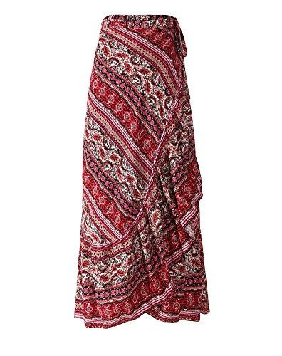 ForeMode Women Boho Print High Waist Side Wrap Split Ruffled Asymmetric Hem Maxi Long Wrap Skirts(red)