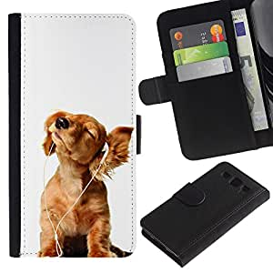 Graphic Case / Wallet Funda Cuero - Golden Retriever White Music Puppy - Samsung Galaxy S3 III I9300