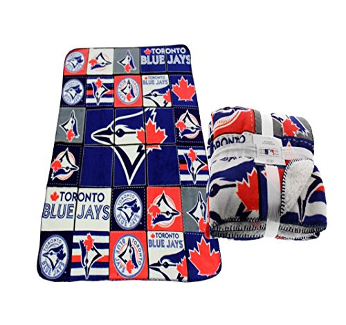 Toronto Blue Jays MLB Soft Cozy Sherpa Lined Throw Fleece Blanket Bluejays 47