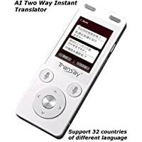 TranSay 2nd Generation AI Two Ways Instant Digital Voice Translator Recorder device supports Chinese, Cantonese, English, (Egypt) Arabic, (Saudi) Arabic, Danish, German, Spanish, Finnish, French, Ital