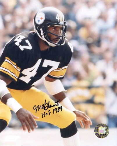 Mel Blount (Football Hall of Fame) Autographed/ Original Signed 8x10 Pittsburgh Steelers Color Action-photo with Written Inscription
