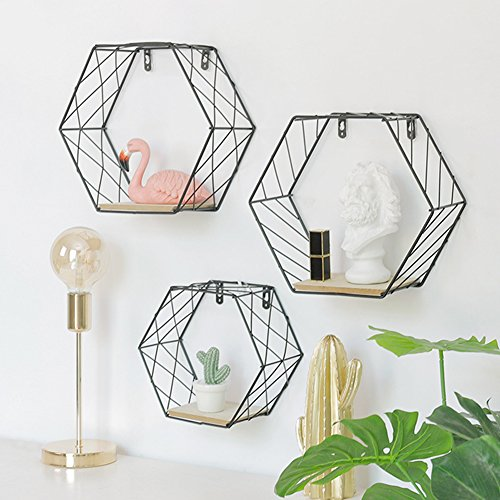 Topaty Metal Wire Hexagon Design Wall Mounted Floating Shelf Wall Decor For Living Room Bedroom (L, (Hexagon Design)