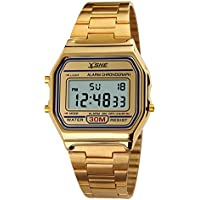 Digital Sports Watch Water Resistant Outdoor Stainless Steel Band Electronic Waterproof Square LED Back Light Men's Wristwatch Gold 1123