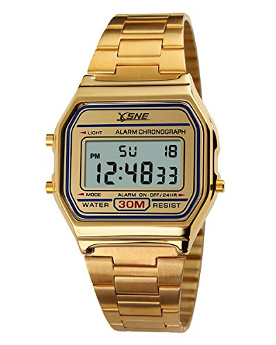 Digital Sports Watch Water Resistant Outdoor Stainless Steel Band Electronic Waterproof Square LED Back Light Men's Wristwatch Gold -