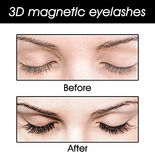 3 Magnetic Eyelashes Full Strip Fake Lashes Ultra Thin No Glue Reusable False Magnet Eyelashes Premium Quality for Natural Look (4PCS- THREE)