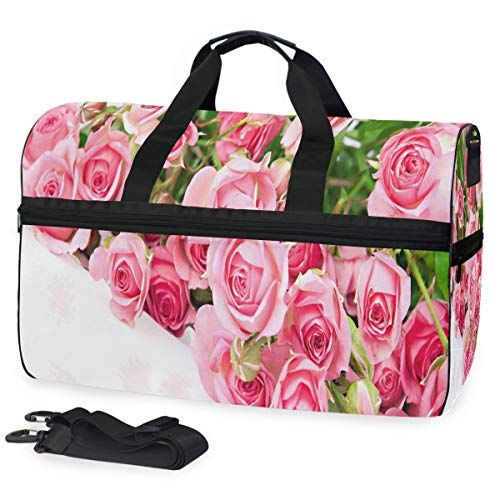 - Valentine's Day Rose Sports Gym Bag with Shoes Compartment Travel Duffel Bag for Men Women