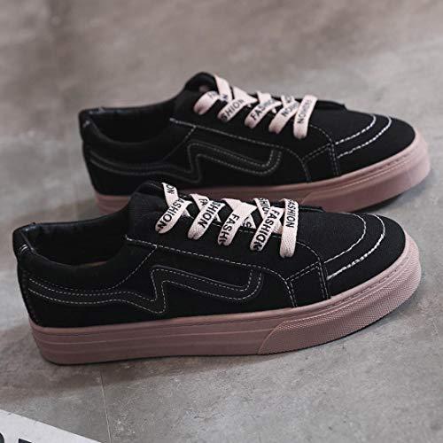 Student Teen Black Casual Fashion Girls Women FALAIDUO Shoes Fashion Shoes Flat Shoes Board Vintage Canvas aqC1wSC4x