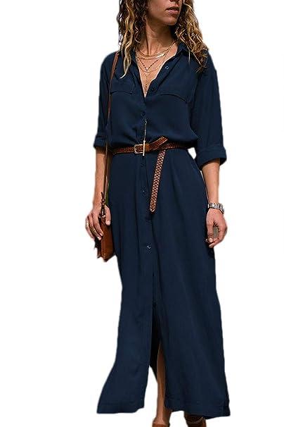 Mujer Vestidos Largos Casual Camisa Manga Larga Botón Lateral De Hendidura Fiesta Vestido Azul S