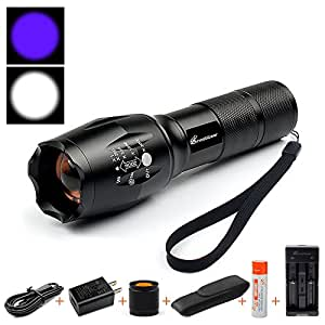 2 in 1 UV Flashlight LED Linternas Torch 395nm Ultraviolet
