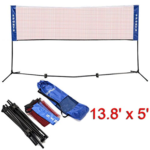 Goplus Portable Badminton Net Beach Volleyball Tennis Competition Training Net 2.5 to 5 Adjustable Height with Carrying Bag (13.8 x 5 Red)