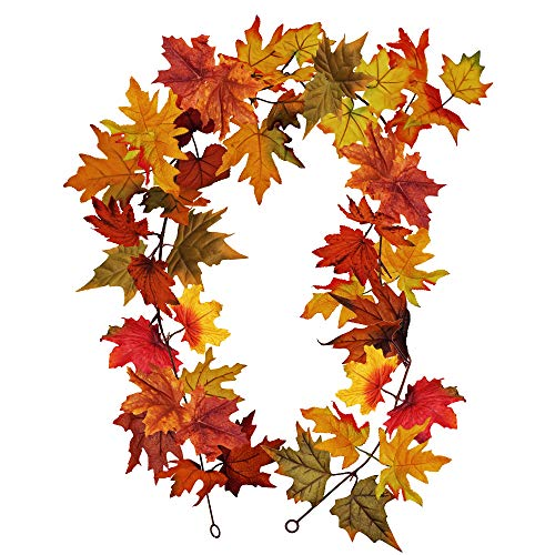 Winlyn 1 Pcs 6' Long Fake Fall Maple Leaf Garland Hanging Fall Leave Vine Twigs Strings in Autumn Colors for Indoor/Outdoor Fall Wedding Door Frame Doorway Backdrop Fireplace Thanksgiving Dinner Party by Winlyn