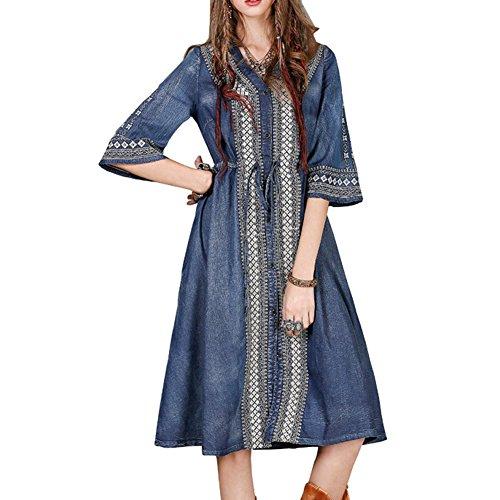Kleid Maxi Blau Kleider LHA8171 Damen A Linie Kurzarm Partykleid Denim E girl 8YZPq8F