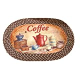 Coffee Themed Kitchen Rugs Coffee Time Vintage Country Inspired Braided Accent Rug, Brown