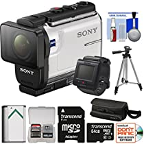 Sony Action Cam HDR-AS300R Wi-Fi HD Video Camera Camcorder & Live View Remote with 64GB Card + Battery + Case + Tripod + Kit