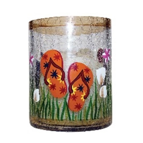 A Cheerful Giver Small Crackle Flip Flop Votive Holder, 4