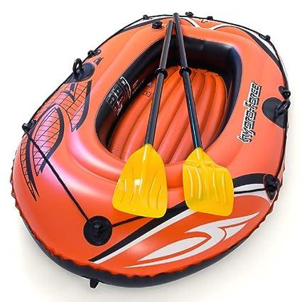 Barca hinchable infantil con 2 remos, rojo y amarillo ...