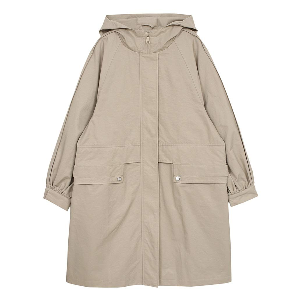 Brown Women's coat Women's Windbreaker Loose Coat MidLength Windbreaker Tooling Windbreaker Jacket Loose Jacket Spring Student, Hooded Pocket Design (color   Brown, Size   S)