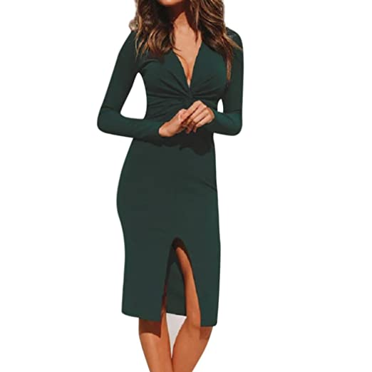 e56c2e1f31d1 Amazon.com  Siviki Womens Deep V Neck Long Sleeve Solid Holiday Dress  Ladies Daily Office Dress  Clothing