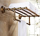 GL&G European retro Towel Holders Gold luxury Wall-Mounted Towel Racks for Bathroom Storage & Organization Shelf Home Decoration 62cm,B