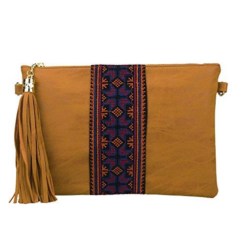 Retro Ethnic Embroidered Crossbody Hobo Bag Fringe Wristlet Purse Vintage Gypsy Tassel ()