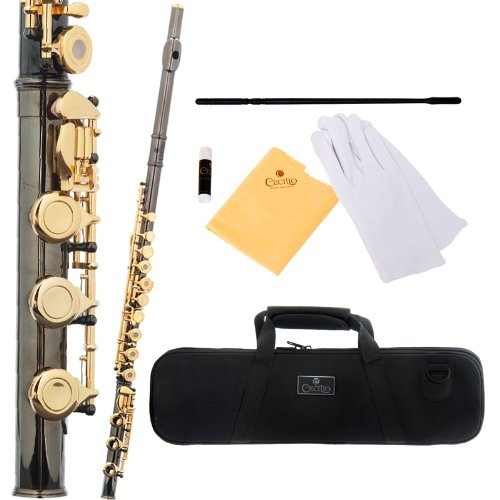 Cecilio 3Series FE-380BNG Black Nickel Plated Body and Gold Plated Keys Intermediate Open/Closed-Hole C Flute with B Foot Joint by Cecilio