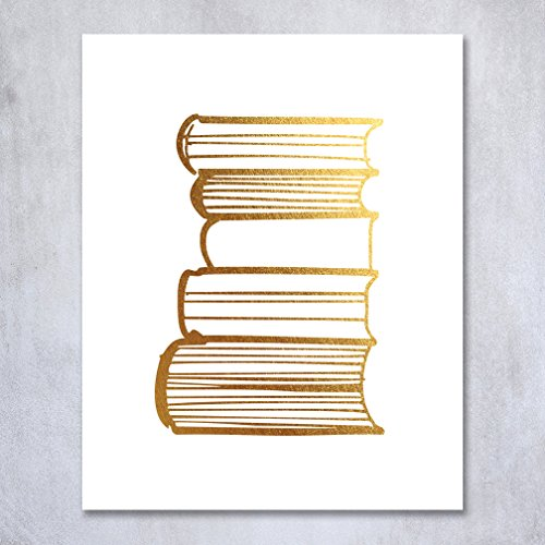 Stack-of-Books-Gold-Foil-Decor-Library-Print-Reading-Study-Modern-Wall-Art-Poster-5-inches-x-7-inches-A19