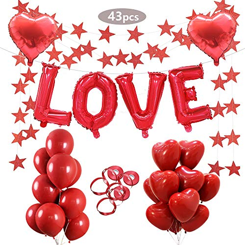 (Red Love Balloons Set,Cute Love Letter Balloons Heart Shaped Foil and Latex Balloon Glitter Red Star Pull Flower Valentine Decorations Great for Wedding Proposal Bridal Shower Honeymoon Decoration)