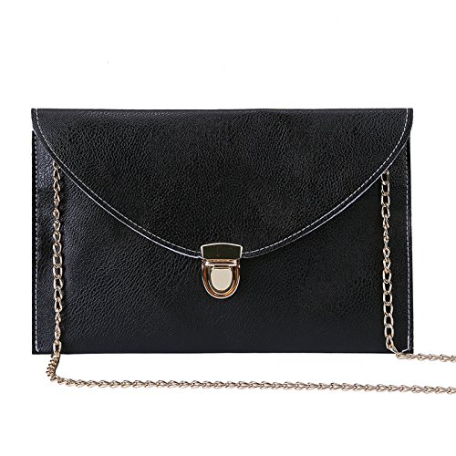 Black Leather Bag Gold Chain - 6