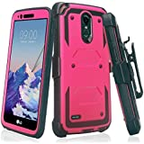 LG Stylo 3 Case, LG Stylo 3 Plus Case Heavy Duty Belt Clip Holster, Full Body Coverage [Built in Screen Protector] Rugged Protection for Stylo 3/Stylo 3 Plus Phone Case, Hot Pink
