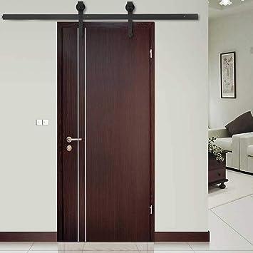 Kit de herrajes para puerta corredera de granero de acero inoxidable para riel interior: Amazon.es: Bricolaje y herramientas