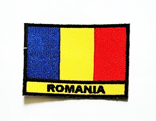 (Nipitshop Patches Romania Country Flag Iron On Embroidered Patch Flag National Emblem Patch for T-Shirt Jeans Skirt Vests Scarf Hat Bag Fabric Costume)