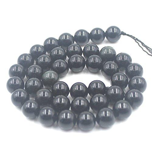 SR BGSJ Jewelry Making Craft Natural 10mm Round Black Obsidian Gemstone Beads Jewelry Making Strand 15