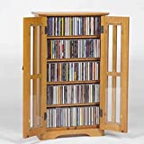 Pemberly Row Wall Hanging Multimedia Cabinet in Oak