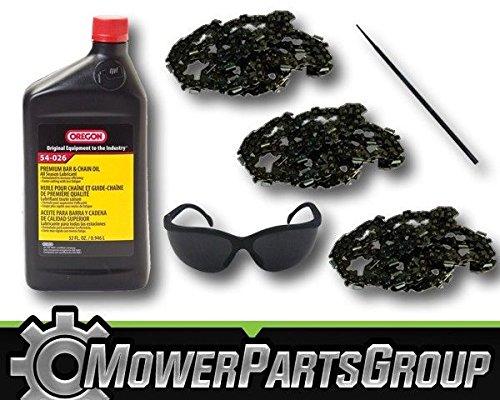 MowerPartsGroup P037 (3) Oregon 72LGX072G 20'' Chainsaw Chain 1QT Chain Oil Sharpener & Glasses