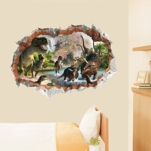 Dragon Honor Many Dinosaur Cracked Wall 3D Mural Wall Sticker Decals For Kids Room Bedroom Home Decor Dragon Mural