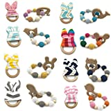Amyster 16pcs Wooden Animal Baby Teether Bangle Toy Teething Rings Bunny Ear 1set/2pc Sensory Baby Teether Toy Can Chew Teething Jewelry Montessori Toys