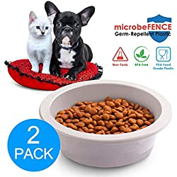 Fluffy Paws 2-Pack Pet Food Water Feeding Bowl with microbeFENCE Technology, Super Durable & Large Capacity for Small Medium & Large Dogs Cats, FDA Approved BPA Free Food Safety Non-Toxic
