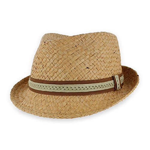 Belfry Men/Women Summer Straw Trilby Fedora Hat in Blue, Tan, Black (Medium, - Hat Braid Fedora Trilby