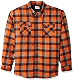Wrangler Authentics Men's Long Sleeve Quilted Lined Flannel Shirt Jacket, Orangeade Tri Color Buffalo, 3XL