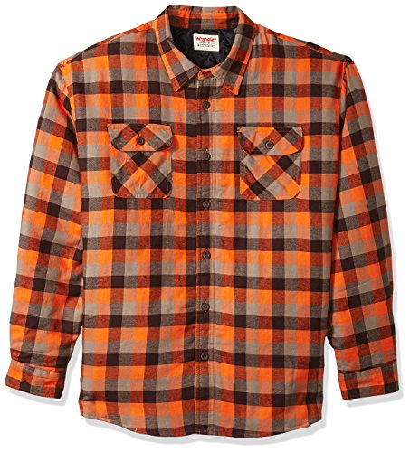 (Wrangler Authentics Men's Long Sleeve Quilted Lined Flannel Shirt Jacket, Orangeade Tri Color Buffalo, 3XL)