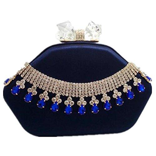 Wedding Party Women deep Silk Clutch Dress Rhinestone Bags blue NVBAO Chain Shoulder Evening YTXdqqn