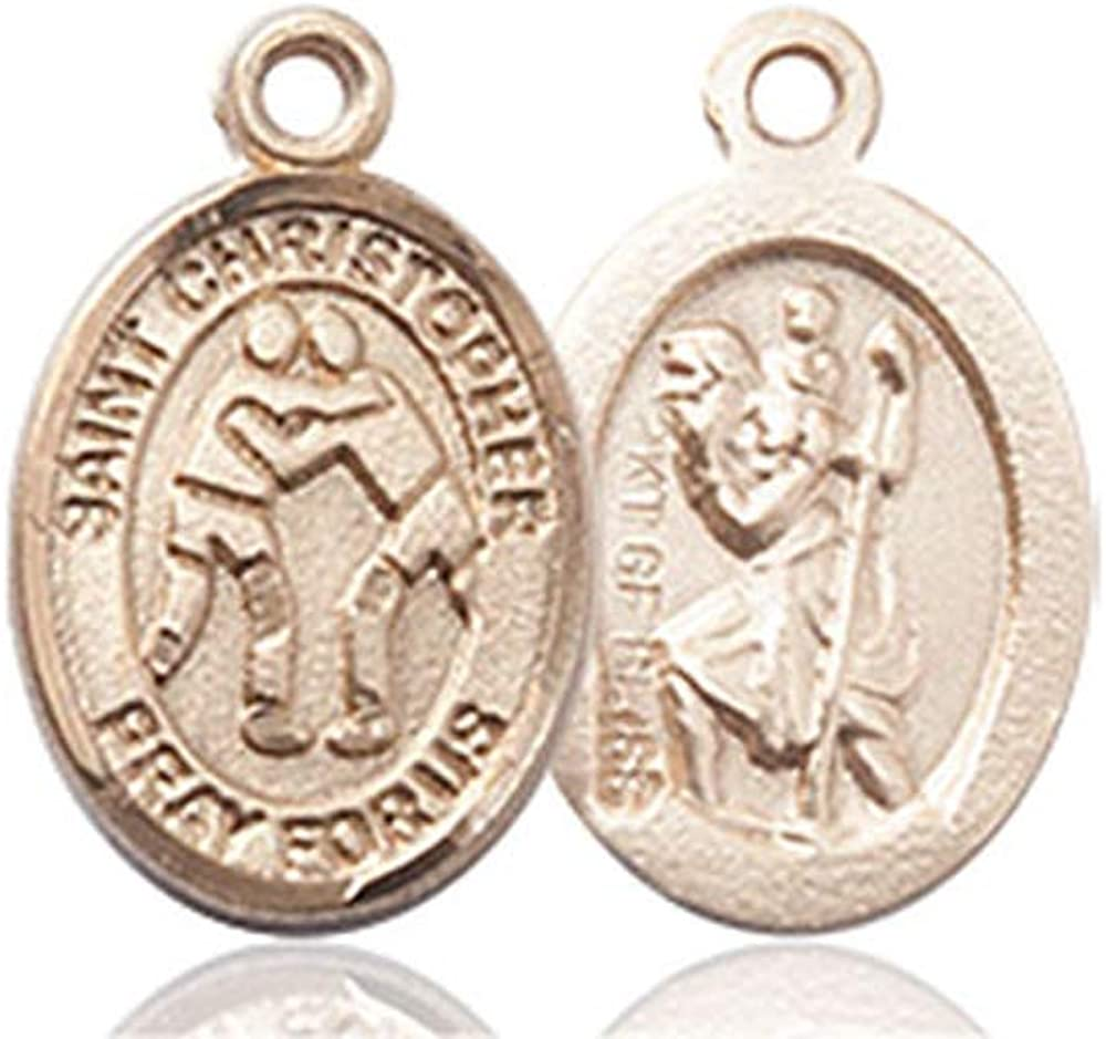 14kt Gold St Christopher//Wrestling Medal Patron Saint Travelers//Motorists 1//2 x 1//4