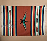 Mexican Style Thunderbird Blanket -Woven Southwest Design Throw Blanket 5'x7' -Yoga, Travel, Rustic Western Decor (Ranch Rust)