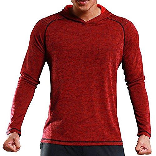 Rdruko Mens & Women Active Gym Muscle Bodybuilding Long Sleeve Hoodies Workout Hooded Sweatshirts(Men red, US S) Adapter Womens Long Sleeve