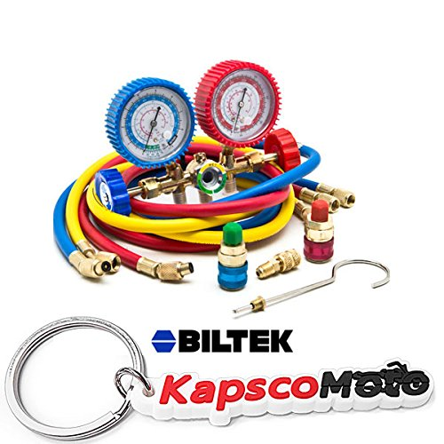 Biltek HVAC R12 R22 R502 A/C Diagnostic Manifold Gauge Kit w/Quick Coupler High/Low + KapscoMoto Keychain by Biltek