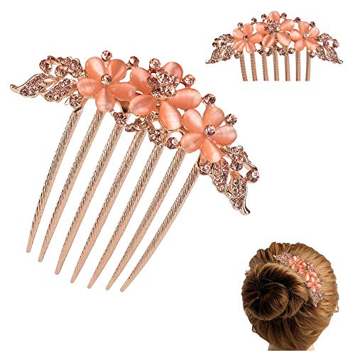(FINGER LOVE France Luxury Pearl Rhinestone Floral 6 Tooth Vantage Handmade French Twist Comb (AChampagne))