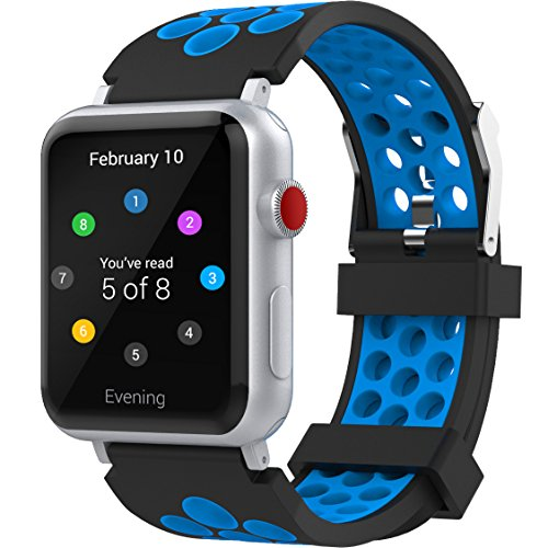 For Apple Watch Band 42mm, Penta Stars Silicone Band for Apple Watch Series 4/3/2/1, Two Tone Holes Design, Breathable, Waterproof Sport Replacement Wristband for iWatch, Blue