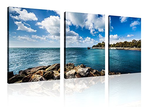 Natural art - Bule Shore Seascapes Wooden Framed Canvas Painting Modern Wall Decoration Ready to Hang 3 Panels