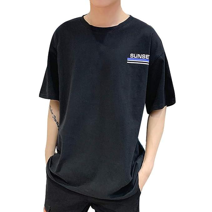 5675612a4dd Pandaie Mens Blouse Shirts Men s New Summer Casual Grapheme Printing Loose  Sports Short Sleeve T-