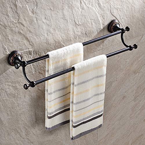 Towel Rack 24-Inch Bathroom Double Towel Bar, Towel Shelf Holder Wall-Mounted Multifunction Bathroom Shelf